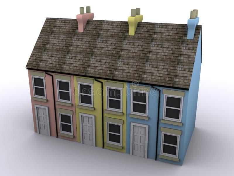 3D Terrace House Stock Photography