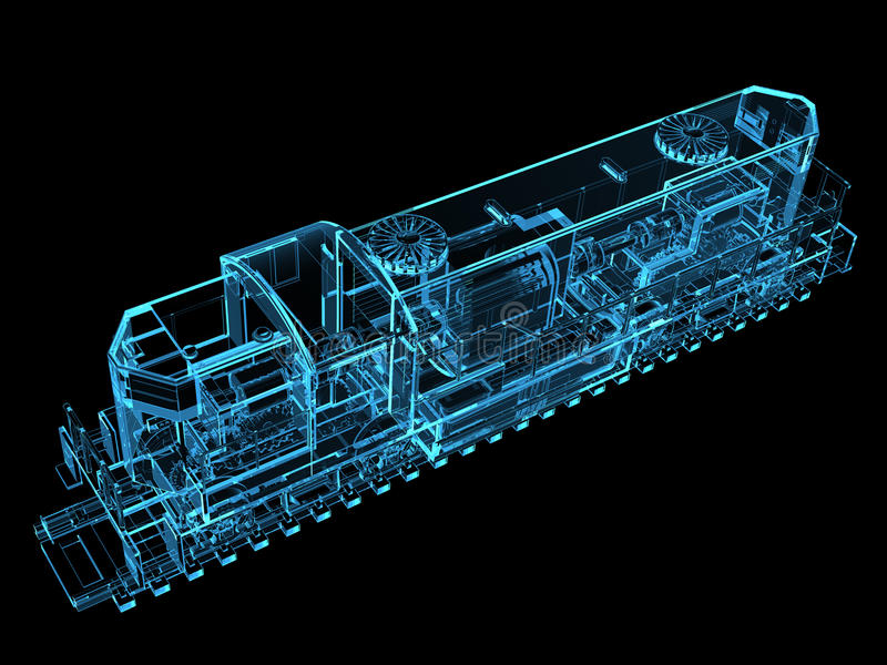 3D teruggegeven blauw van de trein vector illustratie