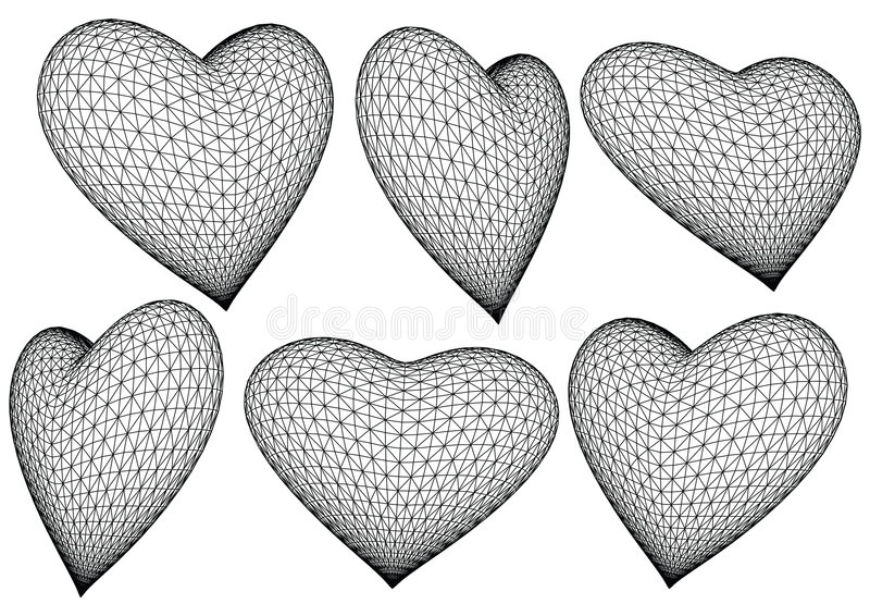 3d teruggegeven harten - vector stock illustratie
