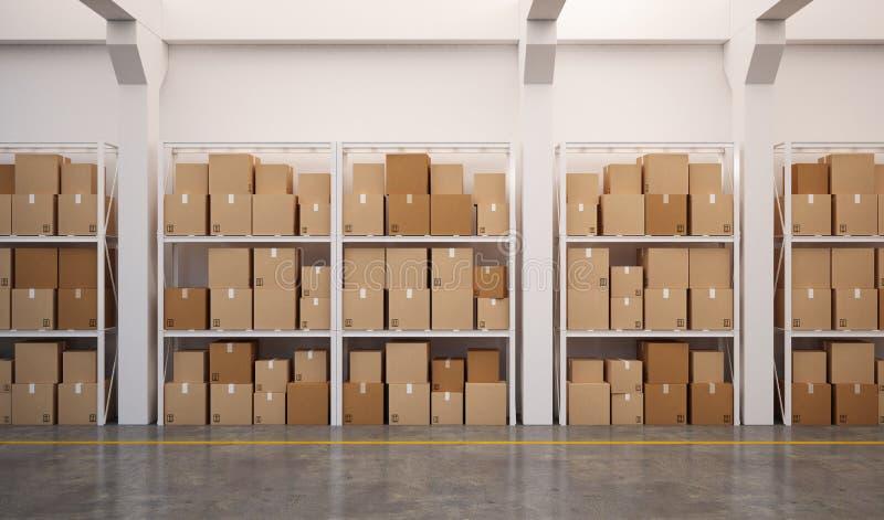 3d teruggegeven pakhuis met vele gestapelde dozen op pallets royalty-vrije illustratie