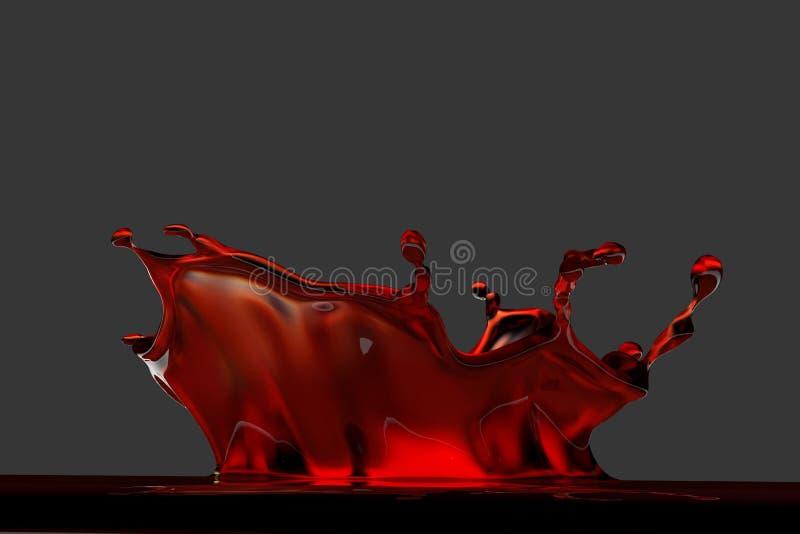 3D teruggegeven rode plons vector illustratie