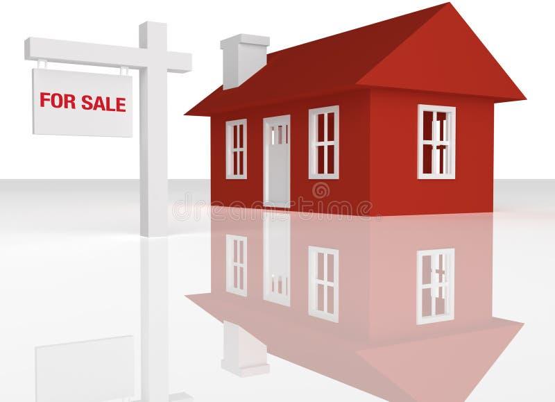 3D teruggegeven Rood huis met realatorteken stock illustratie