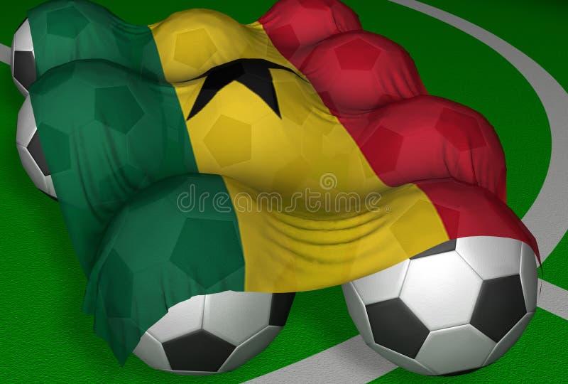 3D-teruggevend de vlag en de voetbal-ballen van Ghana stock illustratie