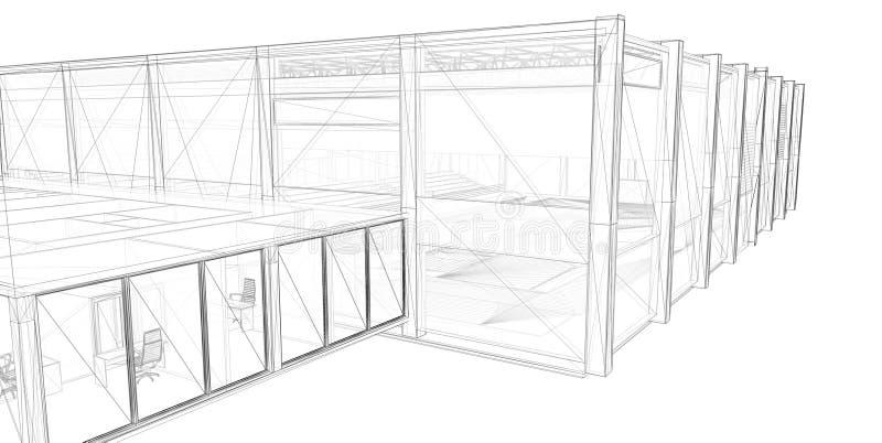 3D teruggevend draad-kader van de bouw. royalty-vrije illustratie