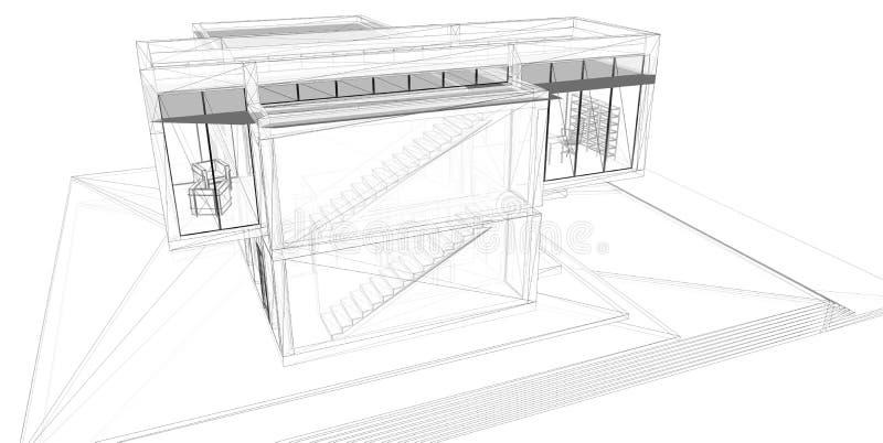 3D teruggevend draad-kader van huis. stock illustratie
