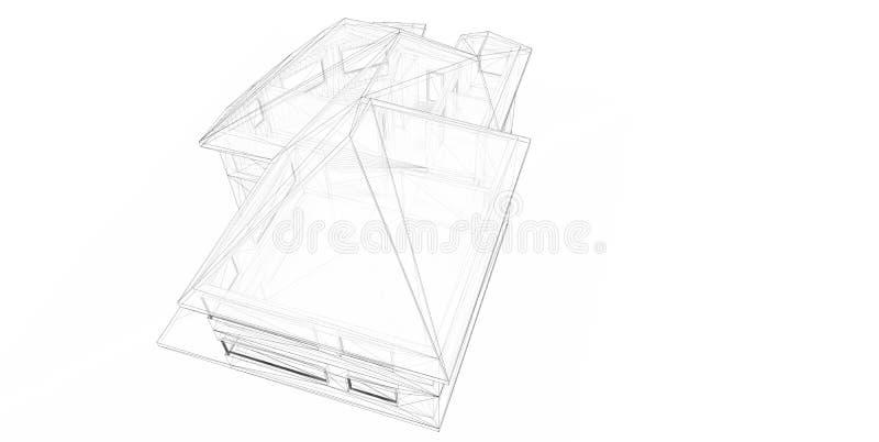 3D teruggevend draad-kader van huis. vector illustratie