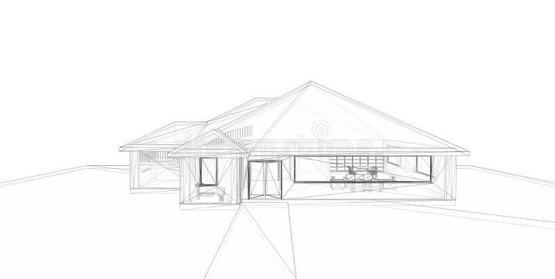 3D teruggevend draad-kader van huis. royalty-vrije illustratie