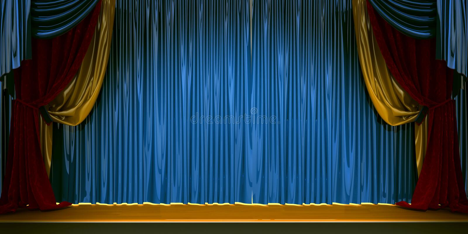 3d theater scene set with curtains stock illustration