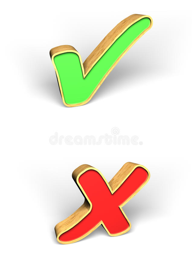 Download 3D tick and cross stock illustration. Image of cross - 29535545