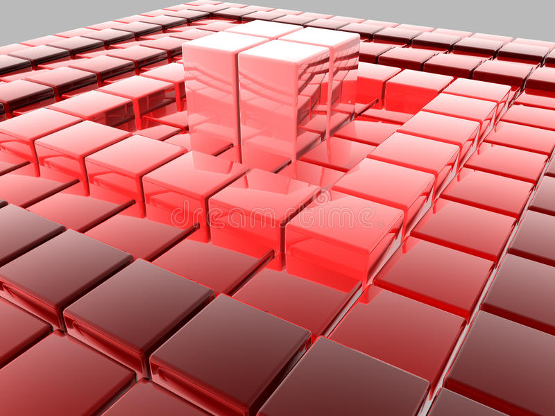 3D tiles. 3D shiny tiles illustration render stock illustration