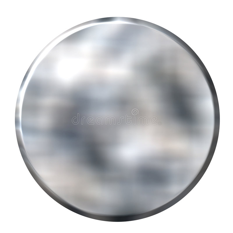 3D Tin Foil Circular Button vector illustration