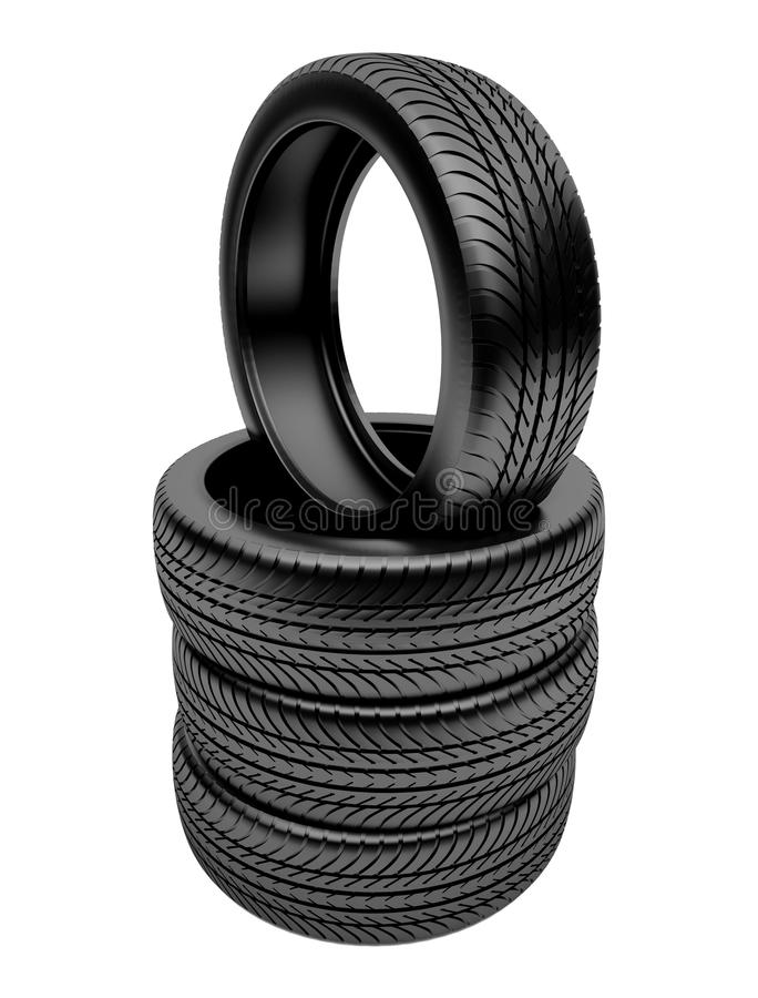 3d tires. Isolated on white background stock illustration