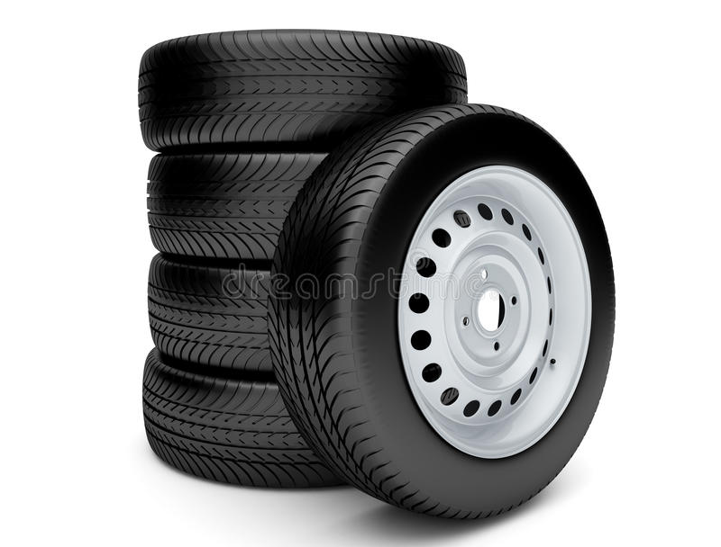 3d tires. On white background royalty free illustration