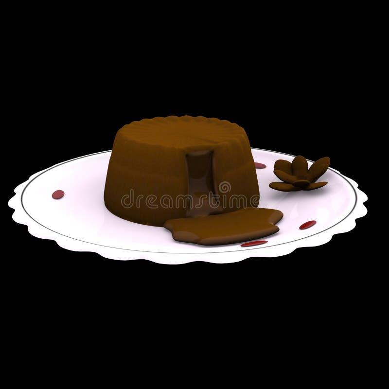 3d tortowy czekoladowy komputer wytwarzająca lawa royalty ilustracja