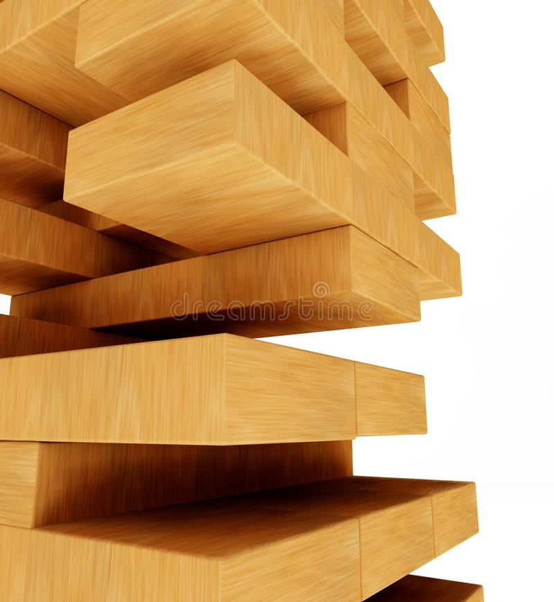 3d tower from blocks, puzzle and missing pieces stock images