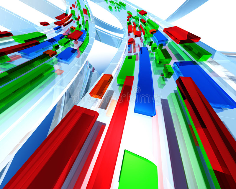 3D traffic abstract. Rendered with red and green boxes royalty free illustration