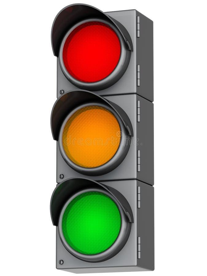 3d traffic lights stock illustration