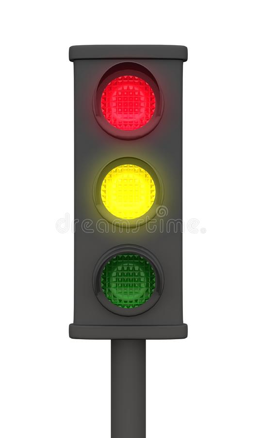 3D traffic lights black - red and yellow active vector illustration
