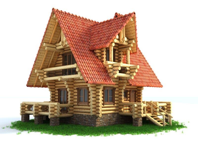 3d trawy domu ilustracja drewniana royalty ilustracja