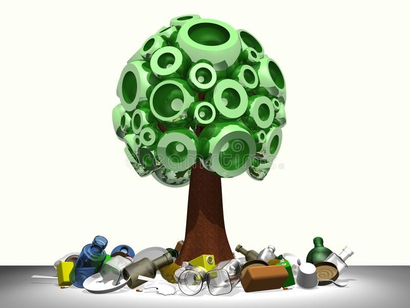 Download 3D tree with garbage stock illustration. Image of artistic - 22467617