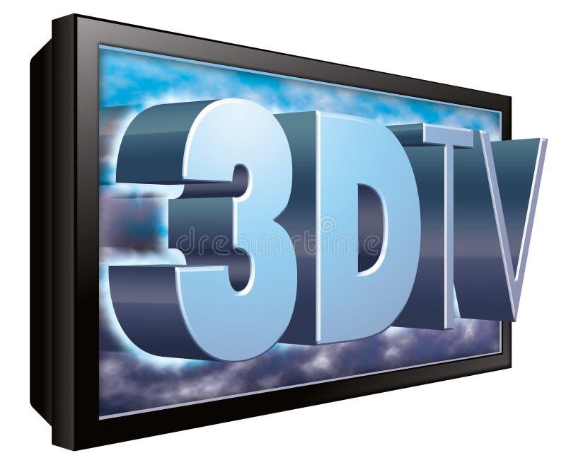 3D TV of 3DTV Televisie stock illustratie