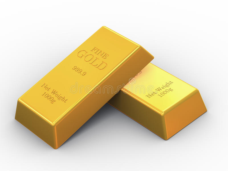 3d two fine gold bars vector illustration