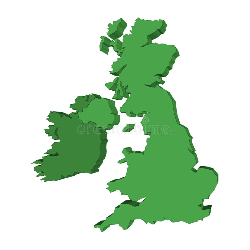 3d UK and Ireland map vector illustration