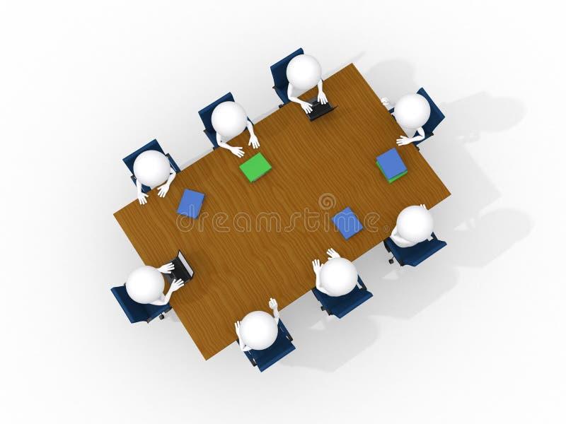 3d uomo, riunione d'affari, isolata su bianco illustrazione di stock