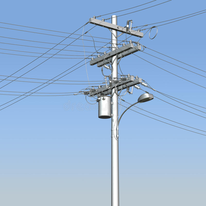 Free 3D Utility Pole Against Blue Skies Stock Photography - 60962932