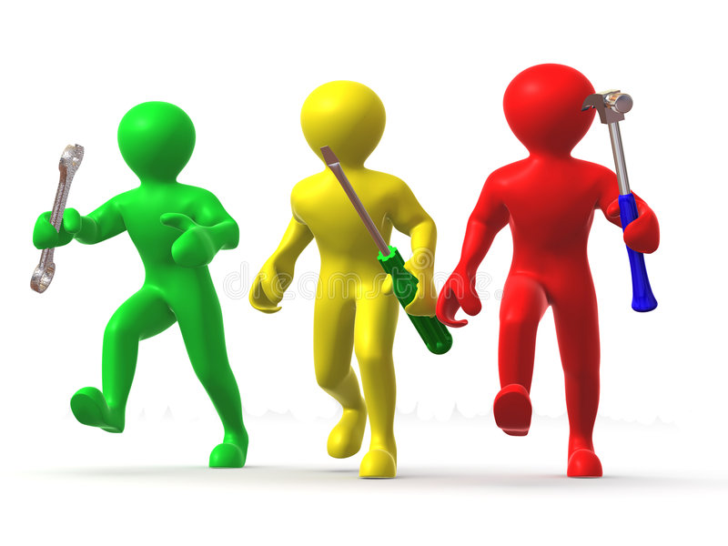 3d utrzymania mężczyzna trzy narzędzia ilustracji