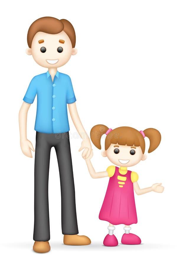 3d Vader en Dochter in Vector vector illustratie
