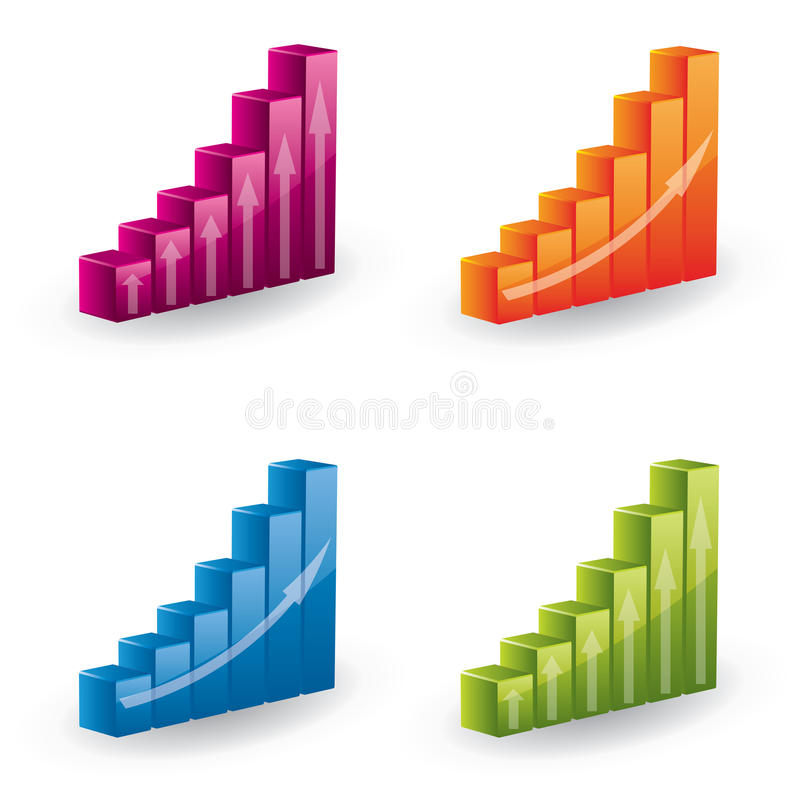3d vector diagram set - icons. Glossy 3d vector diagram set - can be used as icons or design elements stock illustration