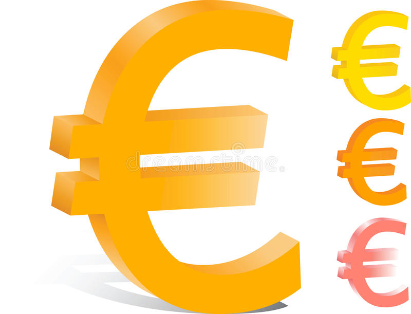 3d vector euro financiënembleem royalty-vrije illustratie