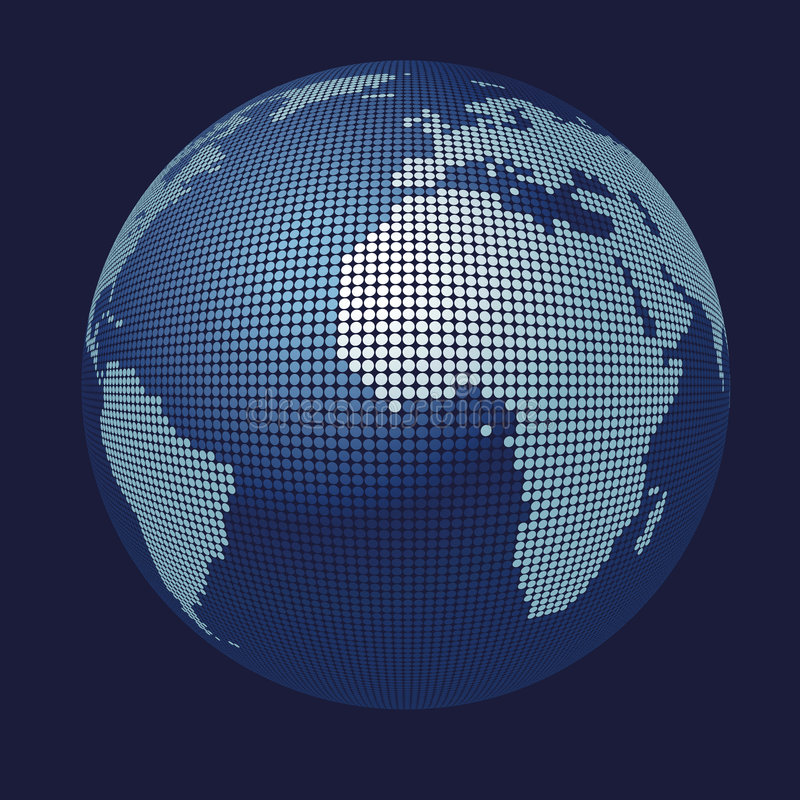 3D vector globe map stock illustration