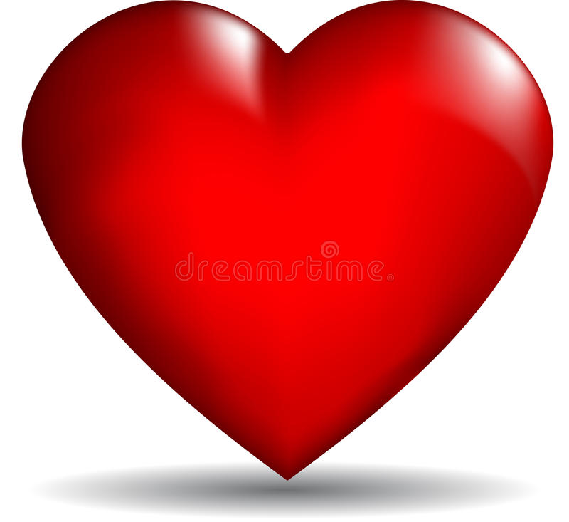 3D vector heart. Glossy red 3D heart on a white background