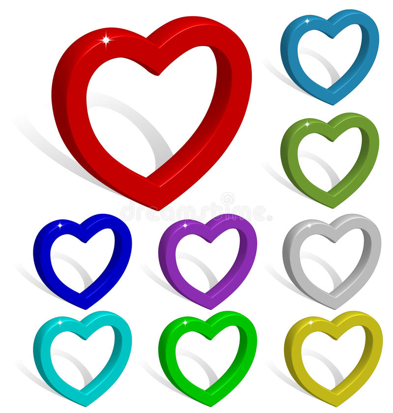 Free 3D Vector Hearts Collection. Royalty Free Stock Images - 12082079