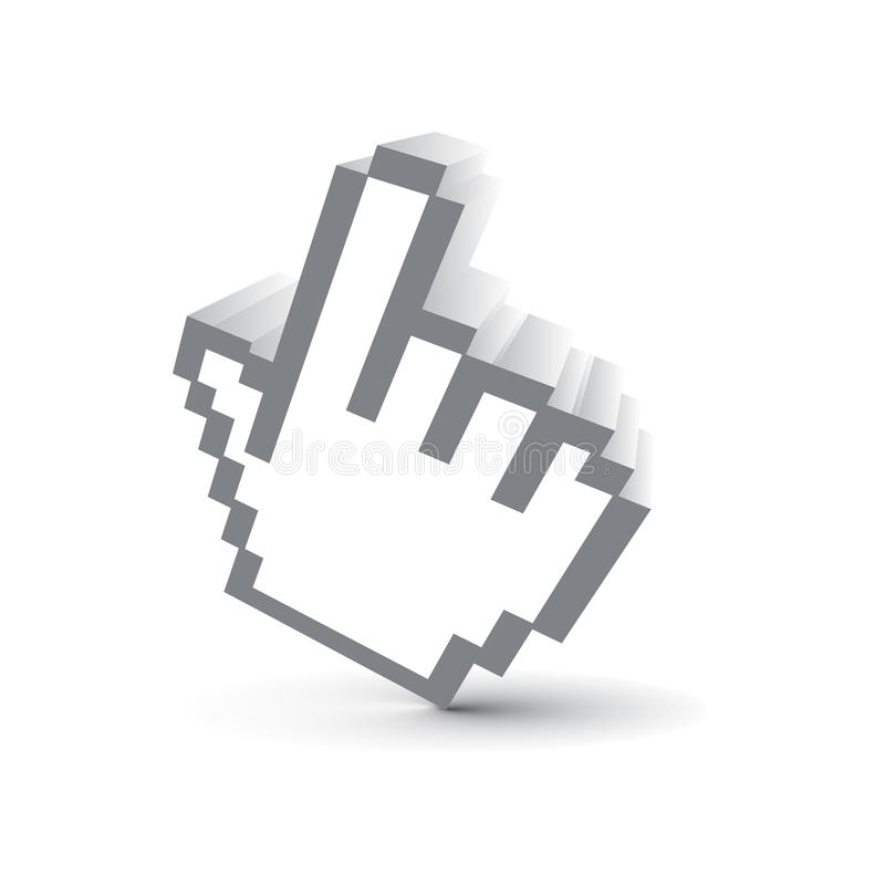 3d vector icon. 3d vector hand mouse symbol royalty free illustration
