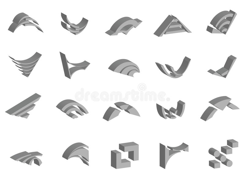 Download 3d Vector Logos And Elements Royalty Free Stock Image - Image: 6400886