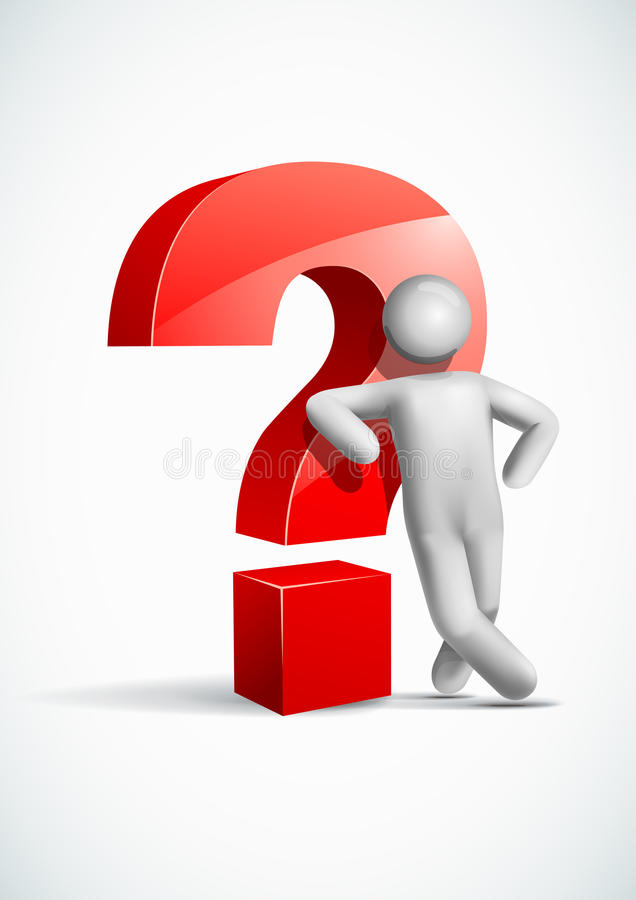 3d vector man leaning question mark symbol. All elements are layered separately in vector file. Mesh used EPS10 file royalty free illustration