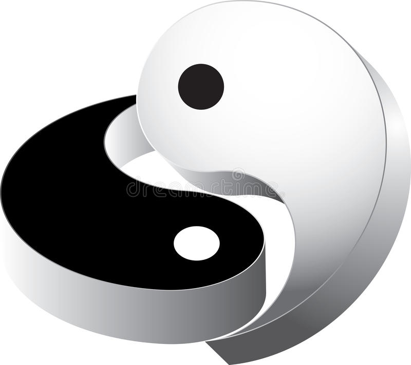 3d vector ying yang stock afbeelding
