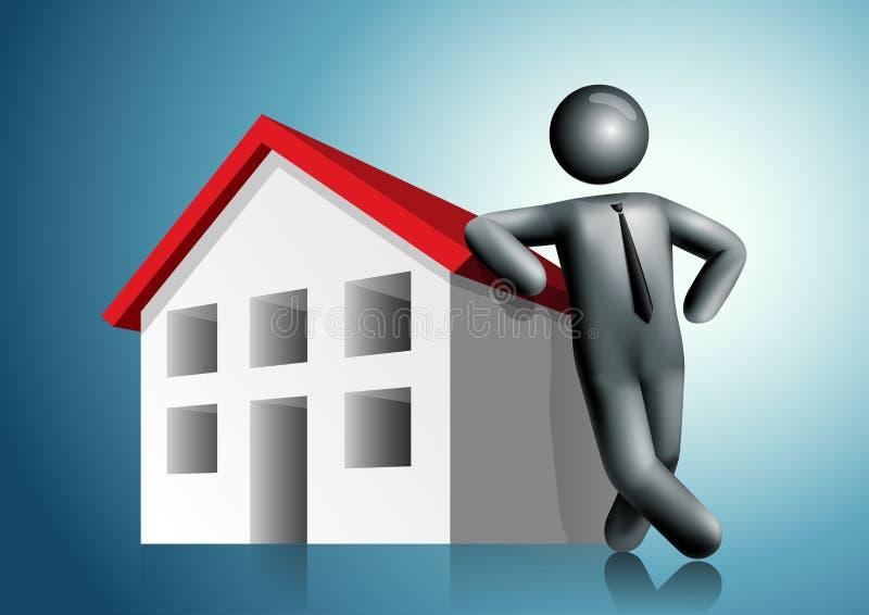3d vectormensen leunend huis stock illustratie