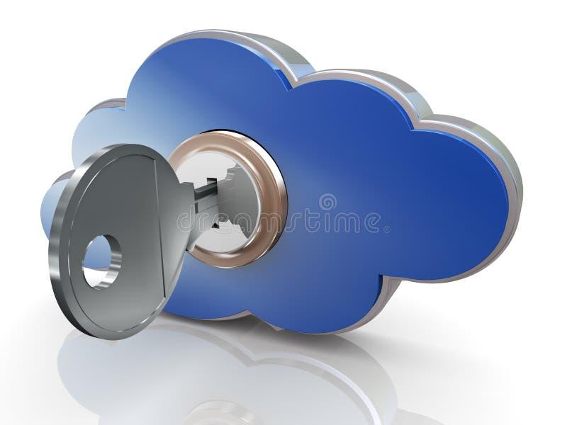 3d veilige wolk gegevensverwerking royalty-vrije illustratie