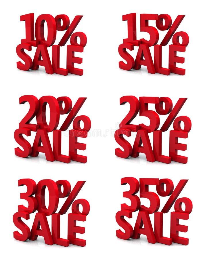 3d venda 10 15 20 25 30 35 por cento ilustração do vetor