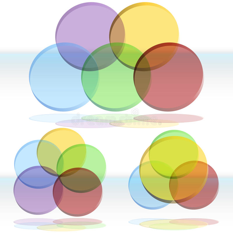3D Venn Diagrama Set ilustracja wektor