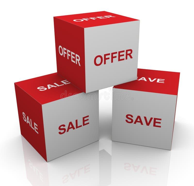 3d verkoop, aanbieding en bewaart woordenkubussen royalty-vrije illustratie