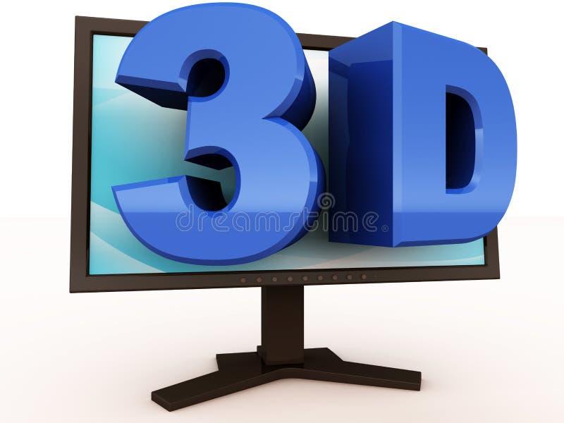 3d vermaak op monitor stock illustratie
