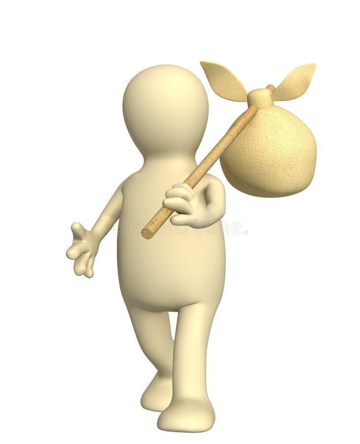 3d viajero - marioneta, bolso que lleva en un palillo ilustración del vector