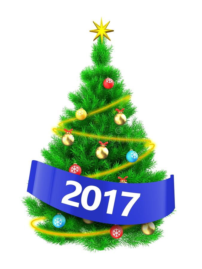 Free 3d Vibrant Christmas Tree With 2017 Sign Royalty Free Stock Photography - 102883867