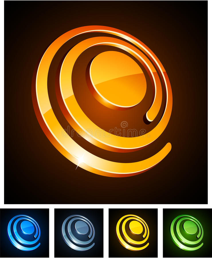 3d vibrant spirals. Vector illustration of 3d shiny spirals stock illustration