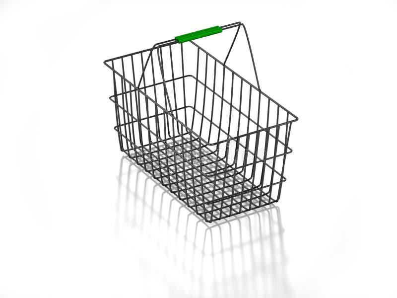 3D vident le panier à provisions illustration libre de droits